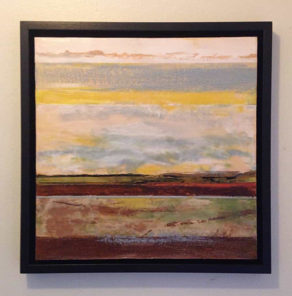 """SOLD   In the distance   Encaustic with ink and rust   16"""" x 16""""   SOLD"""