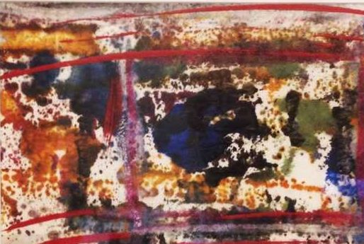 """Untitled   Encaustic Monotype on Washi Paper displayed in a 10"""" x 12"""" frame   By Ruth Maude"""