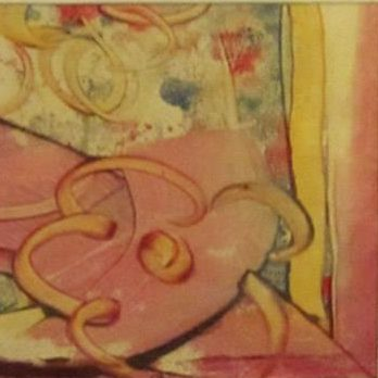 """Confidence   Encaustic Monotype on washi paper 5"""" x 5"""" [framed 10"""" x 10""""]   By Ruth Maude"""