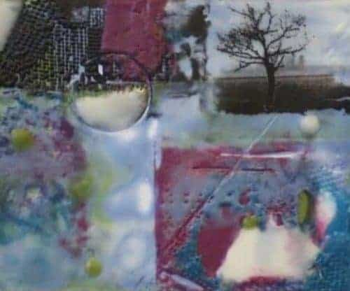 "SOLD New Year's Day - Encaustic on matboard | 4"" x 5"" [framed 6"" x 7""] by Ruth Maude"