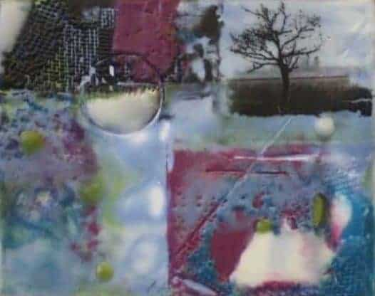 """SOLD New Year's Day - Encaustic on matboard   4"""" x 5"""" [framed 6"""" x 7""""] by Ruth Maude"""