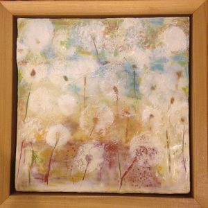 "A Field of Wishes | Encaustic | 11"" x 11"" x 2"" by Ruth Maude"