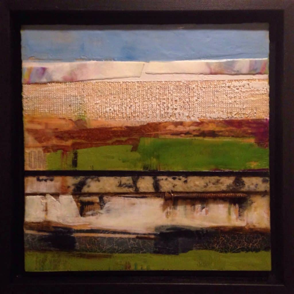 """NFS   Rita says, """"c'est pas pareil, it's not the same thing""""   Encaustic Mixed Media   12"""" x 12""""framed 14""""x14"""" by Ruth Maude"""