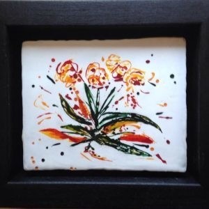"Flower Burst| Encaustic with ink | 5"" x 4"""