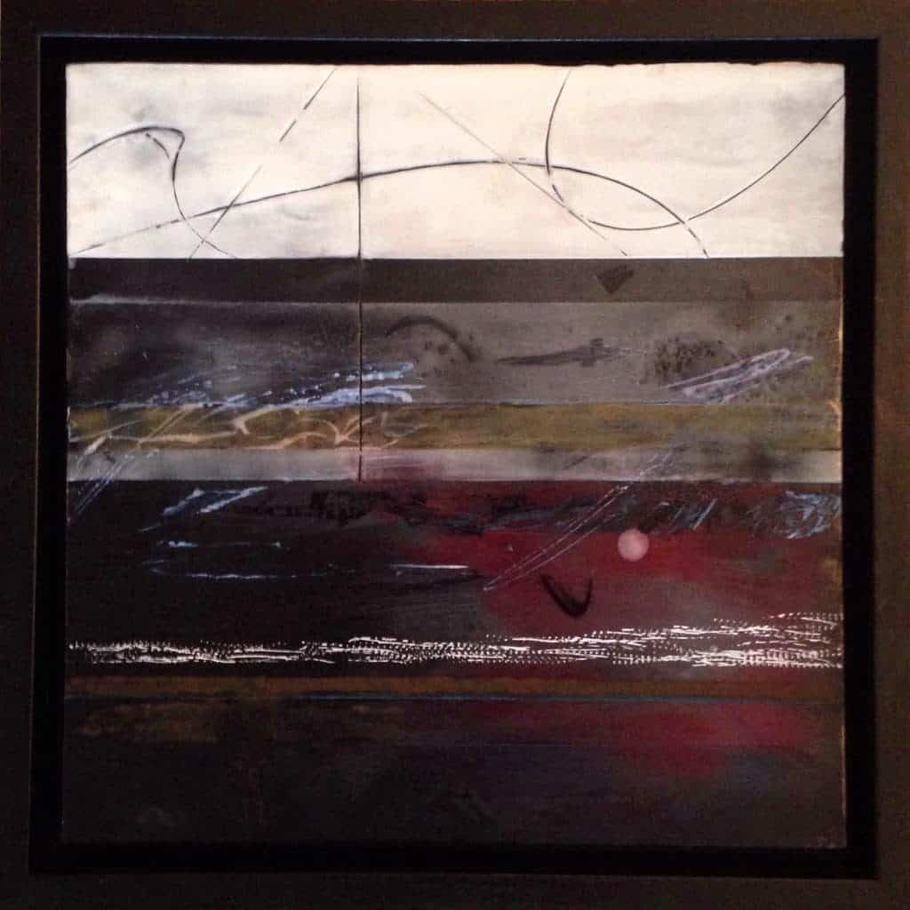 """SOLD   A New Beginning: This is where I am   Encaustic Painting   12"""" x 12"""" framed 14"""" x 14"""""""