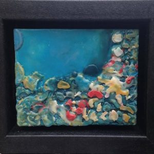 "Coral Reef | Encaustic | 5"" x 4"" by Ruth Maude"