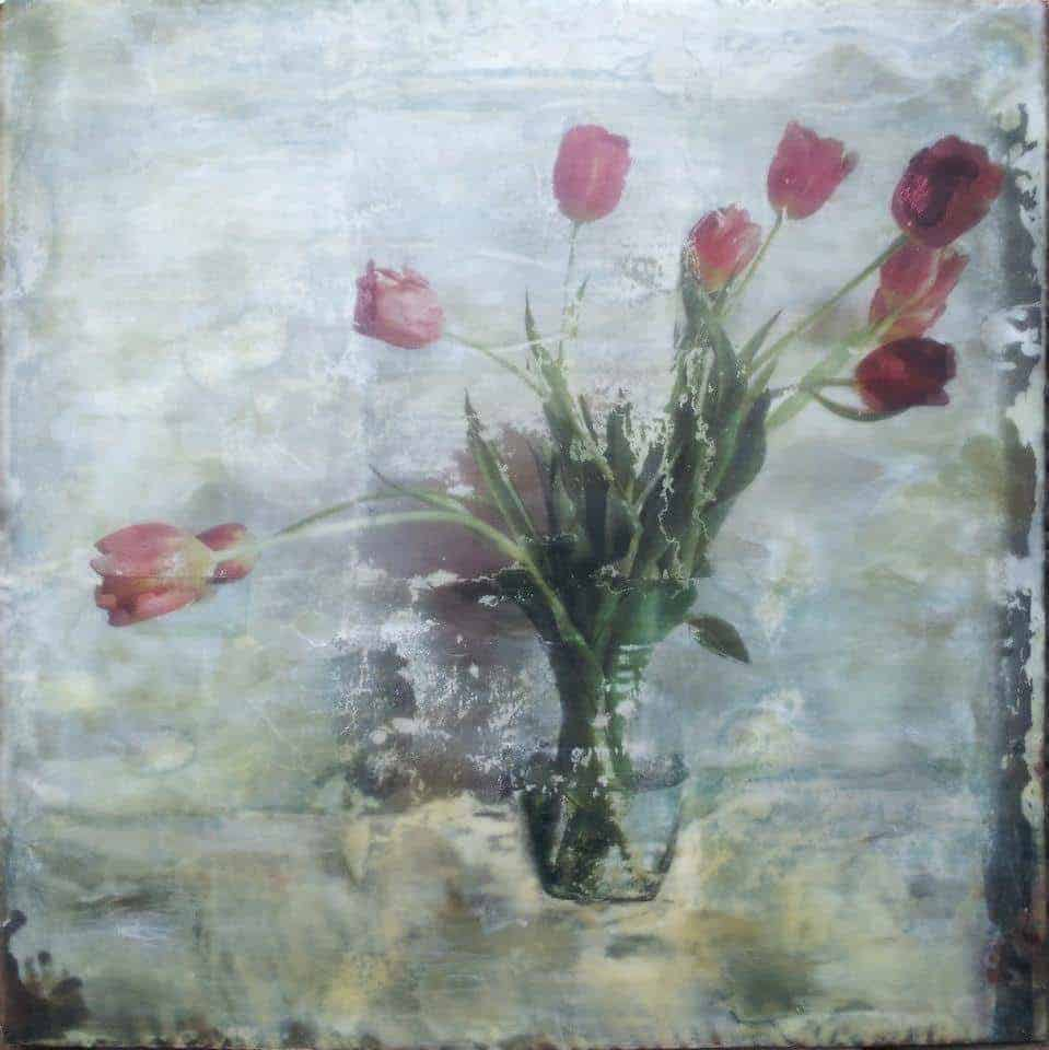 "NFS   Ten Tulips - Encaustic   24"" x 24"""
