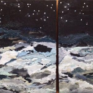 "NFS | Nocturne | Encaustic Diptych | 12"" x 12"" and 12"" x 9"" 