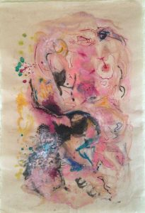 "SOLD | Comes Love | Encaustic Monotype with Mixed Media on Fukunish Japanese Paper | 19"" x 13"" Ruth Maude"