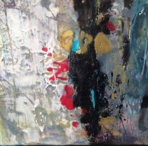 """Maybe it's the laughter   Encaustic mixed media   12"""" x 12"""" x 1.5"""" © Ruth Maude $380 (framed)"""