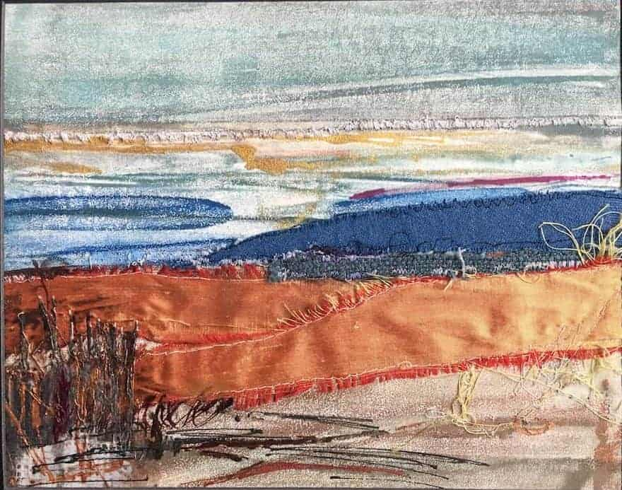 """A place called nowhere   Encaustic Monotype with textiles & Mixed Media on Encaustiflex   7"""" x 10""""   by Ruth Maude"""