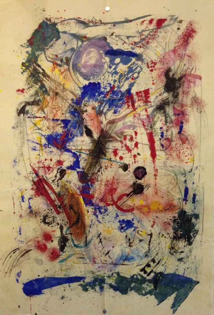 """SOLD   Beatrix Blue   Encaustic on Fukunishi Japanese Paper   19"""" x 13""""by Ruth Maude"""