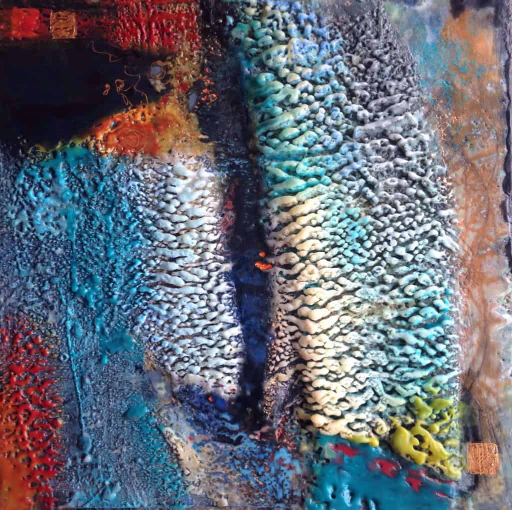 """SOLD What was and what is   Encaustic Mixed Media   12"""" x 12"""" x 1.5"""" © Ruth Maude"""