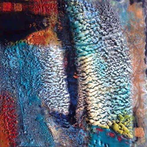 "SOLD What was and what is | Encaustic Mixed Media | 12"" x 12"" x 1.5"" © Ruth Maude"