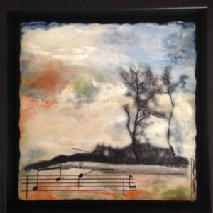 "The Secret Life of Daydreams | Encaustic, photo transfer | 8""x8"" framed 10"" x 10"" by Ruth Maude"