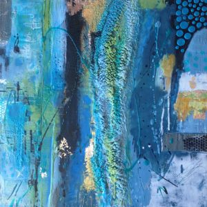 "Out of the Blue | Encaustic Mixed Media | 16"" x 16"" by Ruth Maude"