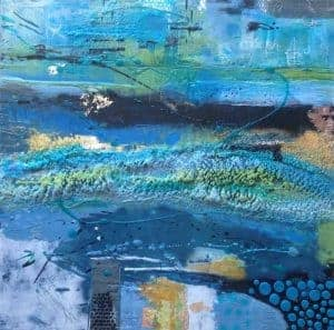 "Out of the Blue | Encaustic Mixed Media | 16"" x 16"" © Ruth Maude"
