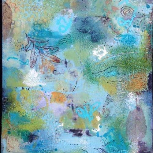 "The middle, halfway | Encaustic Mixed Media | 20"" x 16"" © Ruth Maude $495"