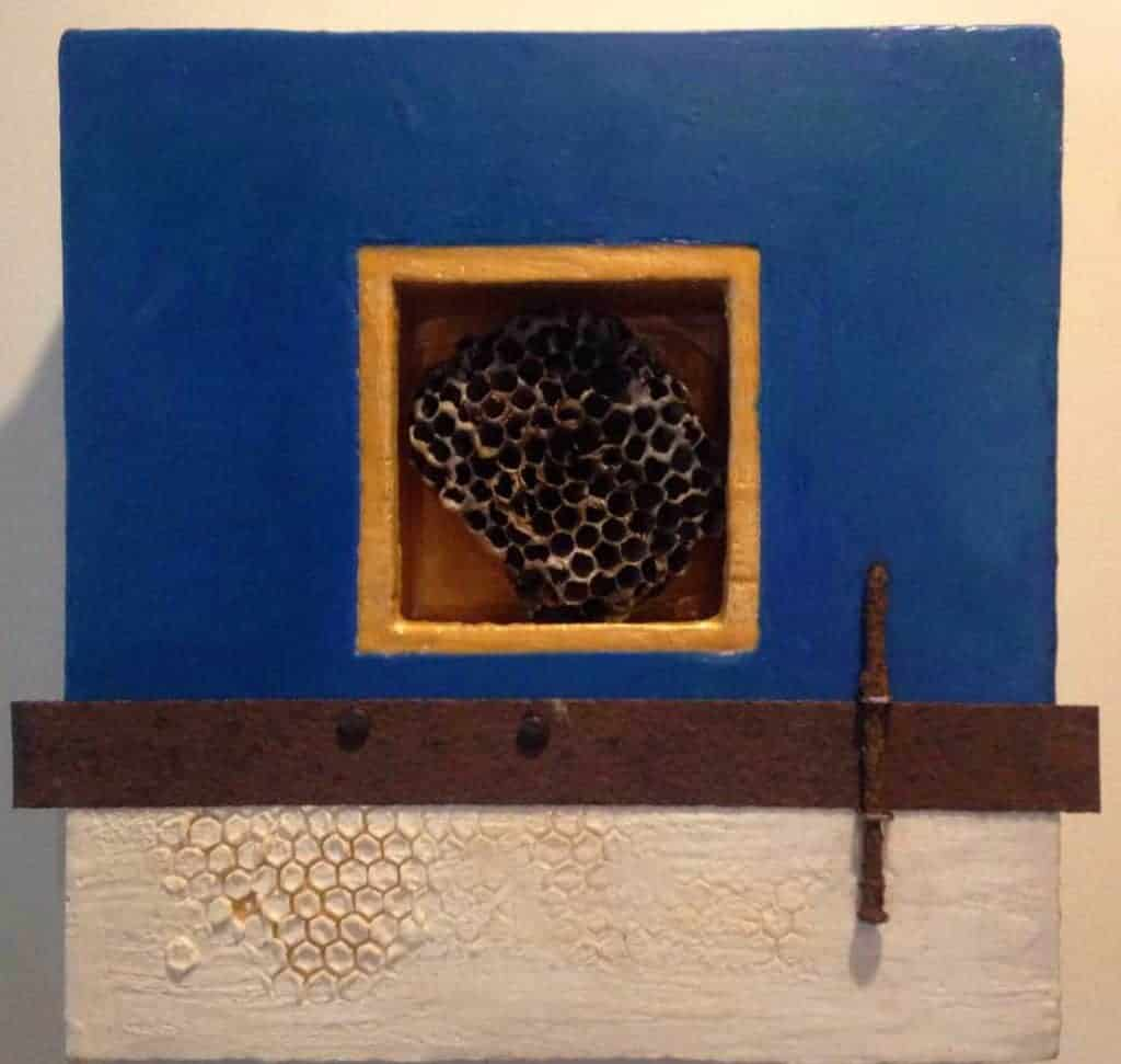 """Wasp nest assemblage   Encaustic Mixed Media   12""""x12""""   by Ruth Maude"""
