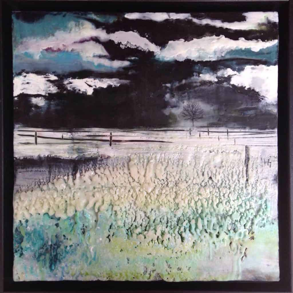 """SOLD   Between the near and far   Encaustic mixed media   12"""" x 12"""" by Ruth Maude"""