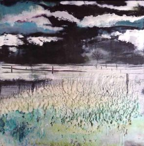 "SOLD | Between the near and far | Encaustic mixed media | 12"" x 12"" by Ruth Maude"