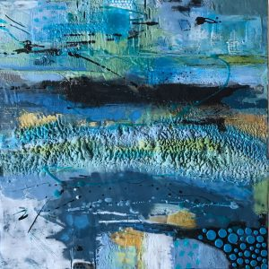 "Out of the Blue | Encaustic Mixed Media | 16"" x 16"" framed to 18"" x 18"" © Ruth Maude"