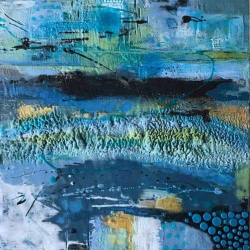 "Out of the Blue | mixed media encaustic on panel | 18"" x 18"" (framed) © Ruth Maude 
