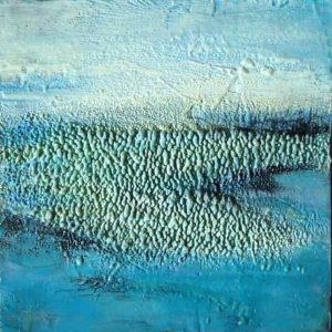 "Eternal Spring | Encaustic | 12"" x 12"" framed 14""x 14"" © Ruth Maude $355"