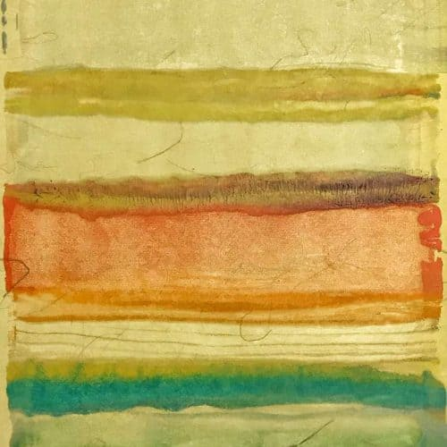 "Latitude #1 | Encaustic on Tatami Yellow | 12.5"" x 18.5"" by Ruth Maude"