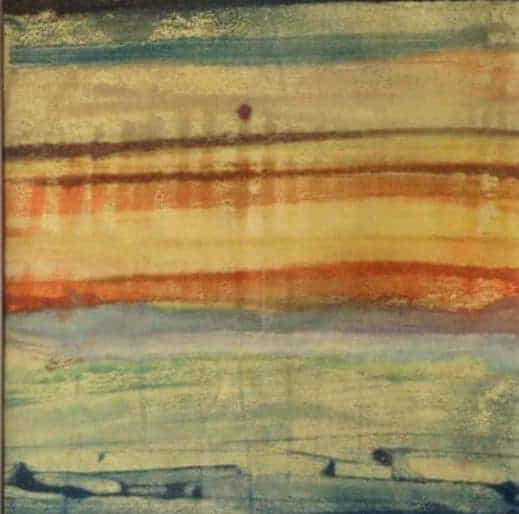 """The sunset is singing   Encaustic   framed to 14"""" x 14""""   by Ruth Maude"""