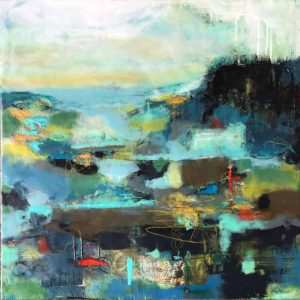 "The weekend at the cottage | mixed media encaustic on panel | 24"" x 24"" © Ruth Maude 