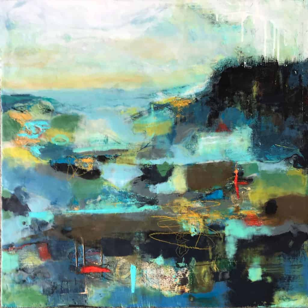 "SOLD The weekend at the cottage | mixed media encaustic on panel | 24"" x 24"" © Ruth Maude"