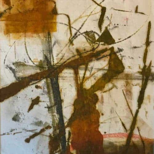 "Meditation #2 | Encaustic Monotype on Washi Japanese Paper | Framed 21"" x 17"" Ruth Maude $170"