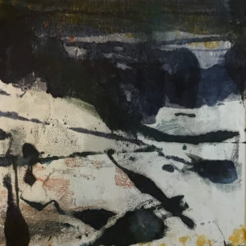 "Midwinter's night | Encaustic Monotype on Washi Japanese Paper | 18"" x 12"" Ruth Maude"
